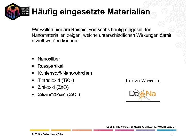 Häufig eingesetzte Materialien Wir wollen hier am Beispiel von sechs häufig eingesetzten Nanomaterialien zeigen,