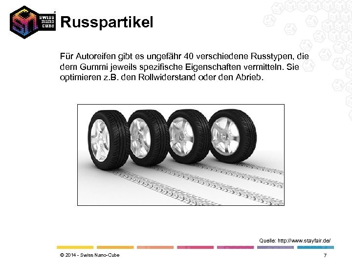 Russpartikel Für Autoreifen gibt es ungefähr 40 verschiedene Russtypen, die dem Gummi jeweils spezifische