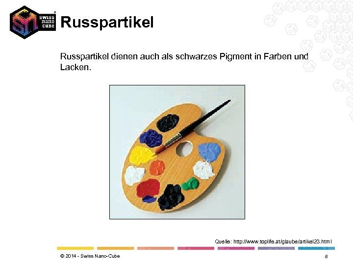 Russpartikel dienen auch als schwarzes Pigment in Farben und Lacken. Quelle: http: //www. toplife.