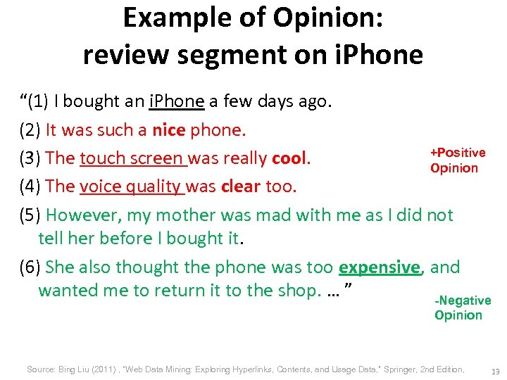 "Example of Opinion: review segment on i. Phone ""(1) I bought an i. Phone"