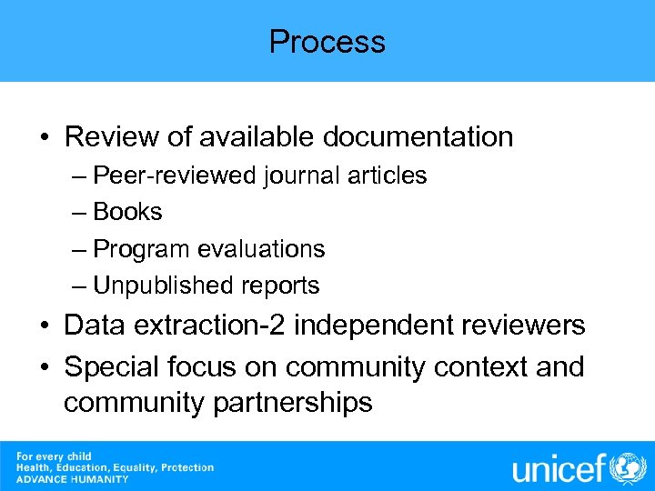 Process • Review of available documentation – Peer-reviewed journal articles – Books – Program