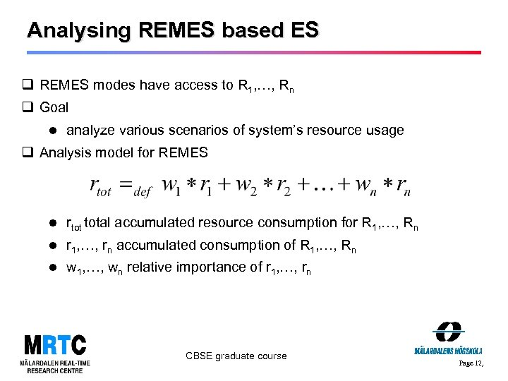 Analysing REMES based ES q REMES modes have access to R 1, …, Rn