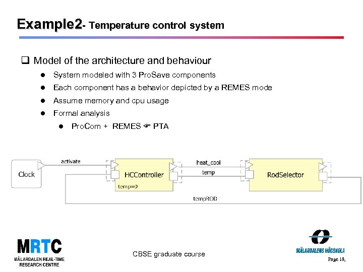 Example 2 - Temperature control system q Model of the architecture and behaviour System