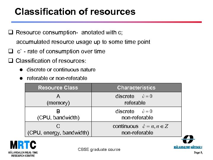 Classification of resources q Resource consumption- anotated with c; accumulated resource usage up to