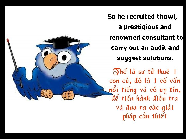 So he recruited the , owl a prestigious and renowned consultant to carry out