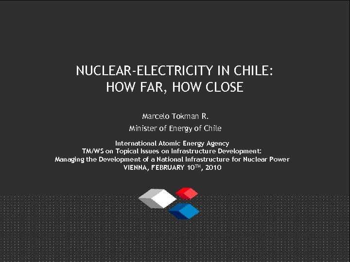 NUCLEAR-ELECTRICITY IN CHILE: HOW FAR, HOW CLOSE Marcelo Tokman R. Minister of Energy of