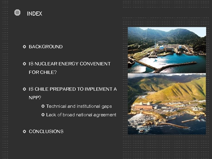INDEX BACKGROUND IS NUCLEAR ENERGY CONVENIENT FOR CHILE? IS CHILE PREPARED TO IMPLEMENT A