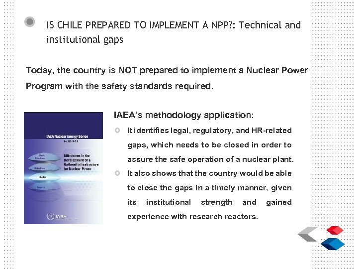 IS CHILE PREPARED TO IMPLEMENT A NPP? : Technical and institutional gaps Today, the