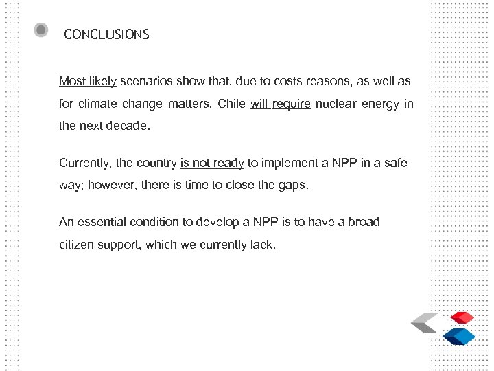 CONCLUSIONS Most likely scenarios show that, due to costs reasons, as well as for