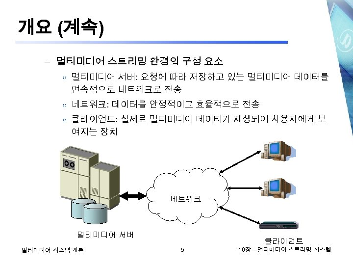 개요 (계속) – 멀티미디어 스트리밍 환경의 구성 요소 » 멀티미디어 서버: 요청에 따라 저장하고