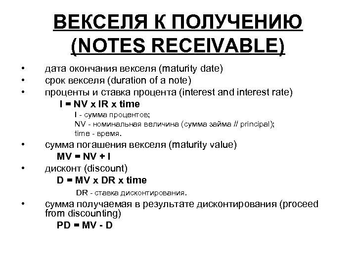 ВЕКСЕЛЯ К ПОЛУЧЕНИЮ (NOTES RECEIVABLE) • • • дата окончания векселя (maturity date) срок