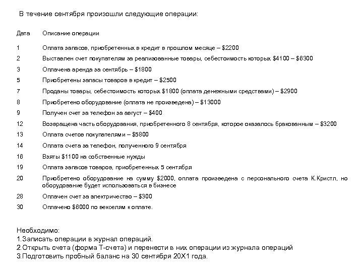 В течение сентября произошли следующие операции: Дата Описание операции 1 Оплата запасов, приобретенных в