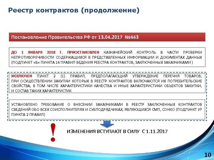 Реестр контрактов (продолжение) Постановление Правительства РФ от 13. 04. 2017 № 443 ДО 1