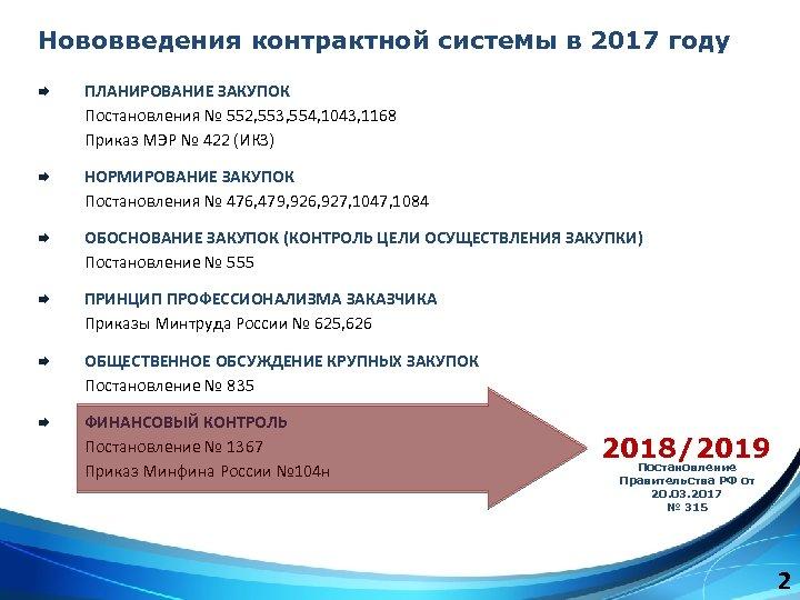 Нововведения контрактной системы в 2017 году Æ ПЛАНИРОВАНИЕ ЗАКУПОК Постановления № 552, 553, 554,