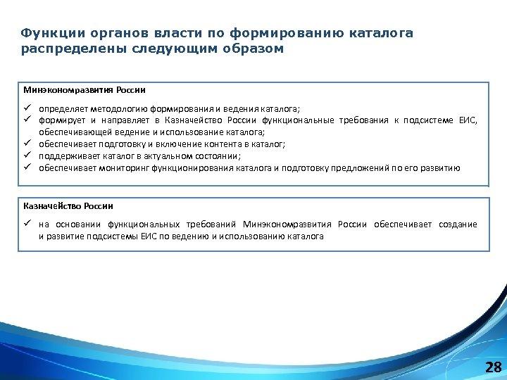 Функции органов власти по формированию каталога распределены следующим образом Минэкономразвития России ü определяет методологию