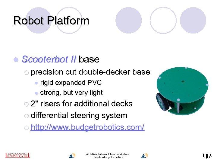 Robot Platform l Scooterbot II base ¡ precision cut double-decker base rigid expanded PVC