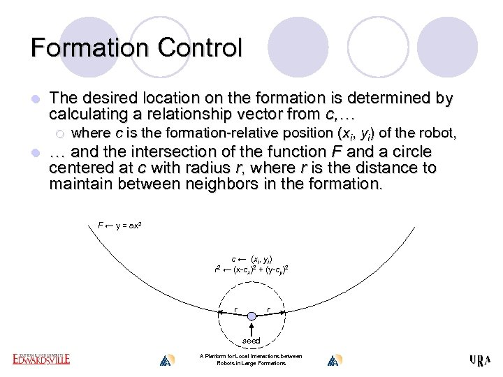 Formation Control l The desired location on the formation is determined by calculating a