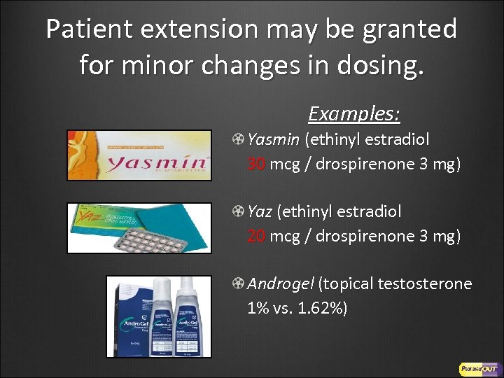 Patient extension may be granted for minor changes in dosing. Examples: Yasmin (ethinyl estradiol