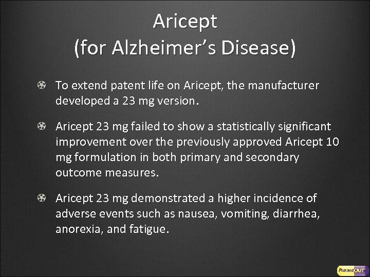 Aricept (for Alzheimer's Disease) To extend patent life on Aricept, the manufacturer developed a