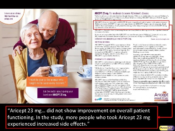 """""""Aricept 23 mg… did not show improvement on overall patient functioning. In the study,"""