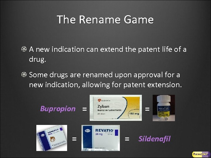 The Rename Game A new indication can extend the patent life of a drug.