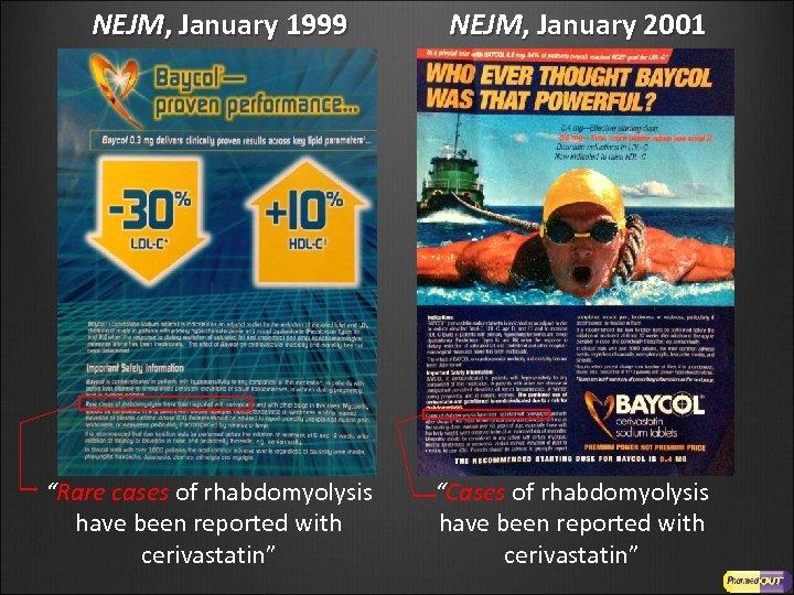 "NEJM, January 1999 ""Rare cases of rhabdomyolysis have been reported with cerivastatin"" NEJM, January"