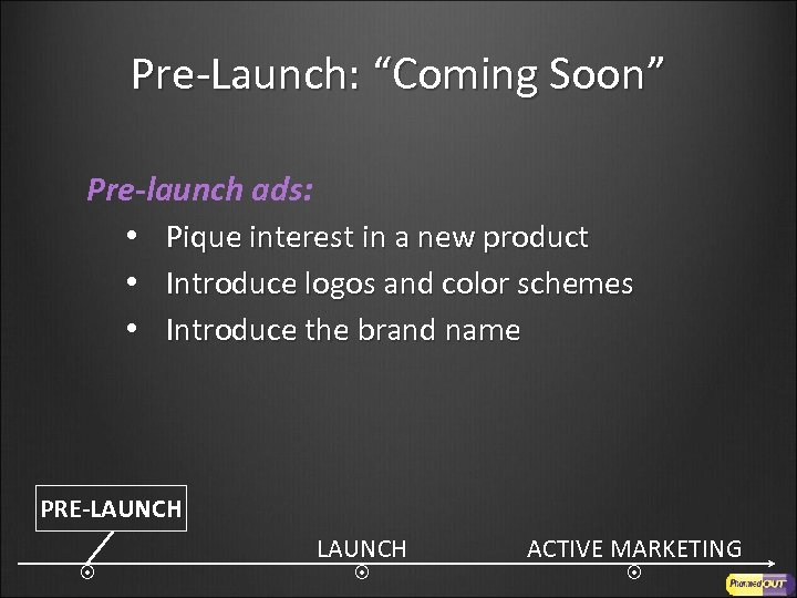 """Pre-Launch: """"Coming Soon"""" Pre-launch ads: • Pique interest in a new product • Introduce"""