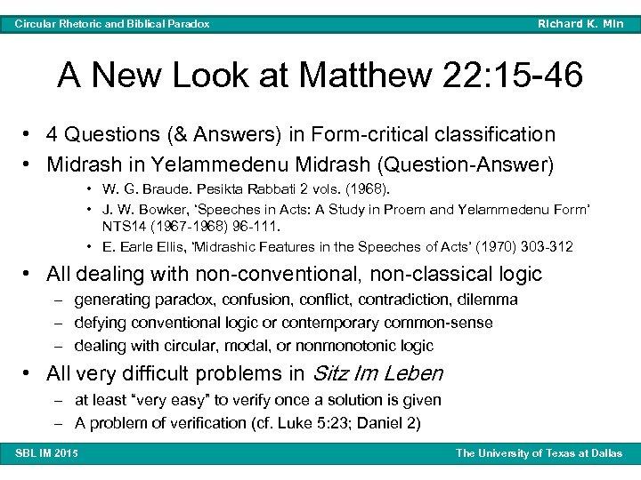 Richard K. Min Circular Rhetoric and Biblical Paradox A New Look at Matthew 22: