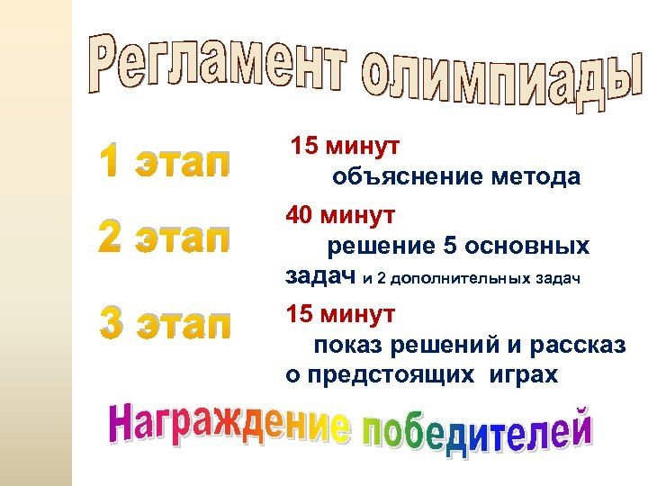 1 этап 2 этап 3 этап 15 минут объяснение метода 40 минут решение 5