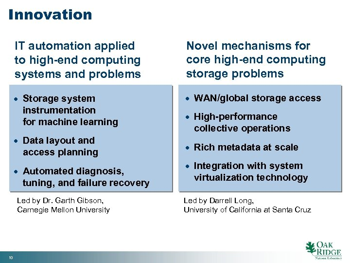 Innovation IT automation applied to high-end computing systems and problems Novel mechanisms for core