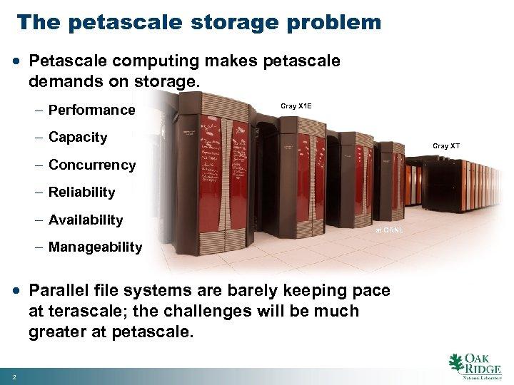 The petascale storage problem · Petascale computing makes petascale demands on storage. - Performance