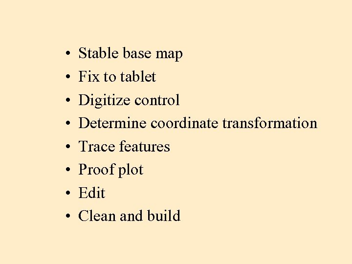 • • Stable base map Fix to tablet Digitize control Determine coordinate transformation