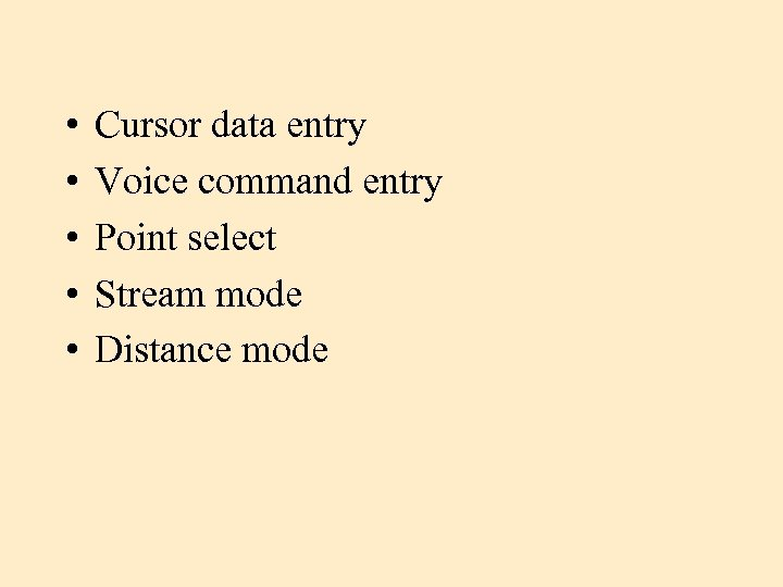 • • • Cursor data entry Voice command entry Point select Stream mode