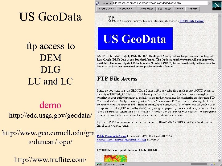 US Geo. Data ftp access to DEM DLG LU and LC demo http: //edc.