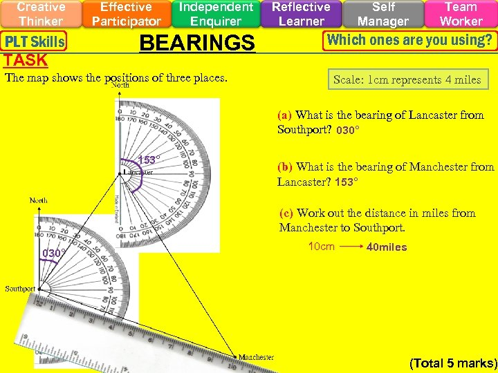 Creative Thinker PLT Skills TASK Effective Participator Independent Enquirer BEARINGS The map shows the
