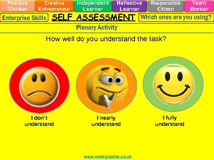 Positive Thinker Creative Entrepreneur Independent Learner Reflective Learner Responsible Citizen Team Worker Enterprise Skills