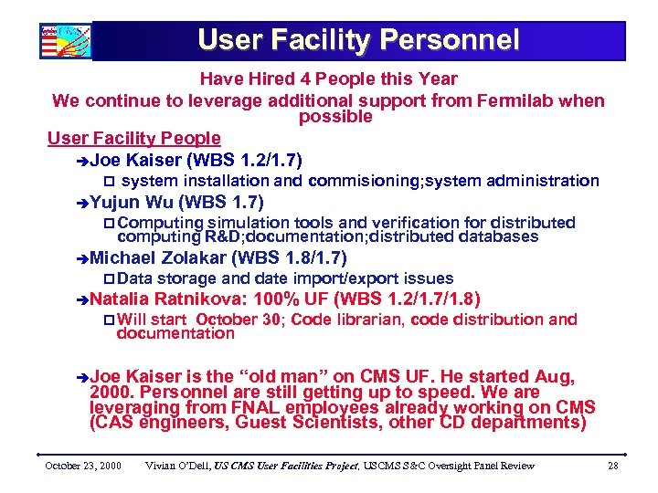 User Facility Personnel Have Hired 4 People this Year We continue to leverage additional
