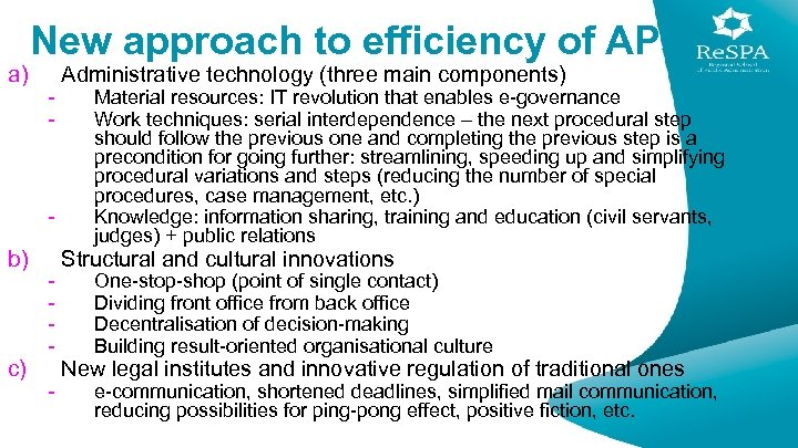 a) New approach to efficiency of APs - - b) c) - Administrative technology