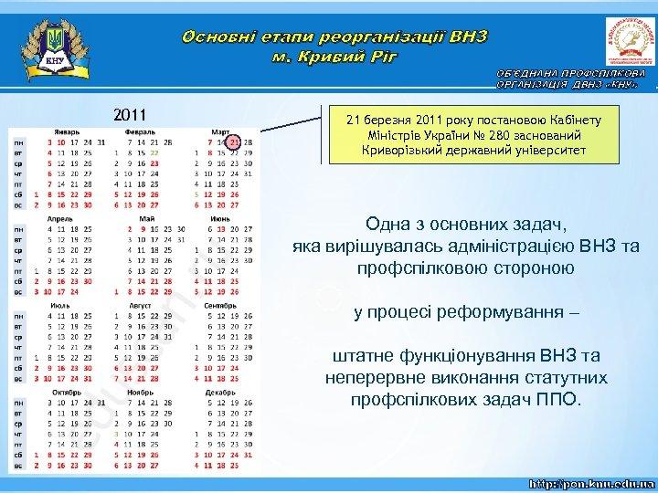 Основні етапи реорганізації ВНЗ м. Кривий Ріг 2011 ОБ'ЄДНАНА ПРОФСПІЛКОВА ОРГАНІЗАЦІЯ ДВНЗ «КНУ» 21