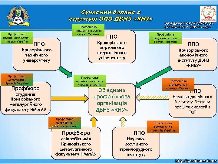 Сучасний баланс в структурі ОПО ДВНЗ «КНУ» Профспілка працівників освіти і науки України Криворізького