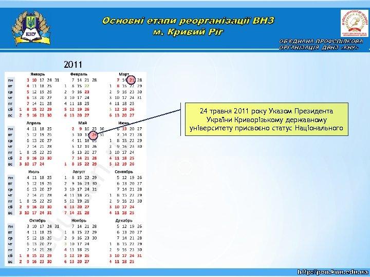 Основні етапи реорганізації ВНЗ м. Кривий Ріг ОБ'ЄДНАНА ПРОФСПІЛКОВА ОРГАНІЗАЦІЯ ДВНЗ «КНУ» 2011 24