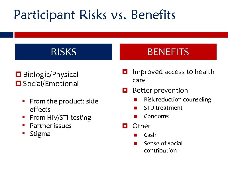 Participant Risks vs. Benefits RISKS Biologic/Physical Social/Emotional § From the product: side effects §