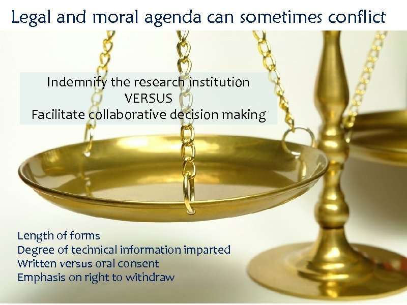 Legal and moral agenda can sometimes conflict Indemnify the research institution VERSUS Facilitate collaborative