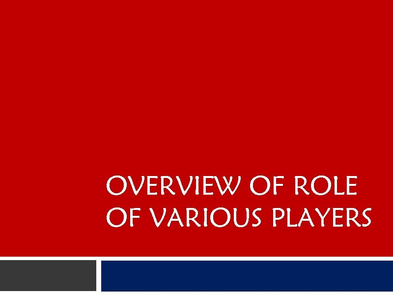 OVERVIEW OF ROLE OF VARIOUS PLAYERS