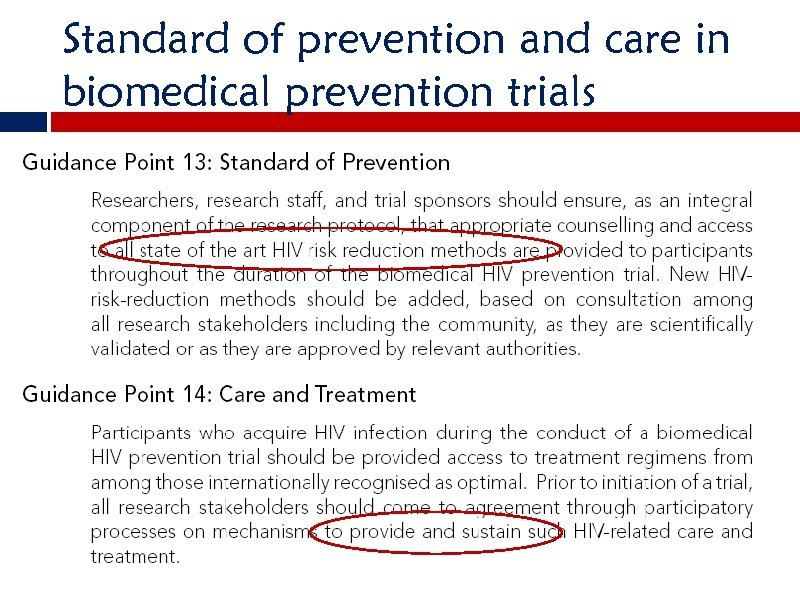 Standard of prevention and care in biomedical prevention trials
