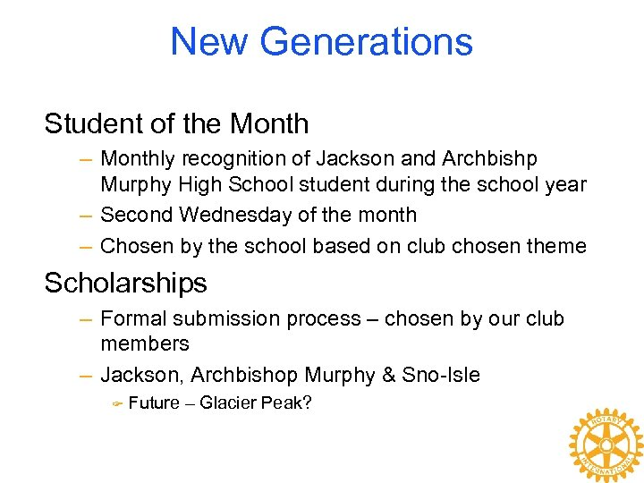 New Generations Student of the Month – Monthly recognition of Jackson and Archbishp Murphy