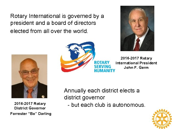 Rotary International is governed by a president and a board of directors elected from