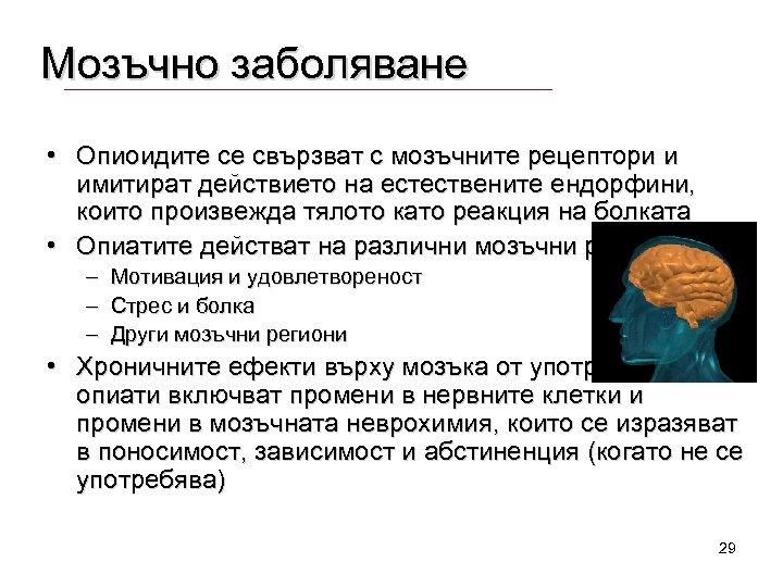 Мозъчно заболяване • Опиоидите се свързват с мозъчните рецептори и имитират действието на естествените