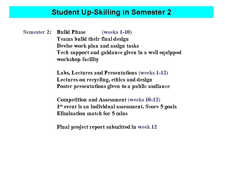 Student Up-Skilling in Semester 2: Build Phase (weeks 1 -10) Teams build their final