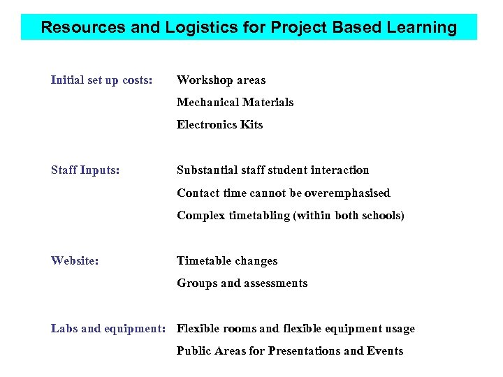 Resources and Logistics for Project Based Learning Initial set up costs: Workshop areas Mechanical